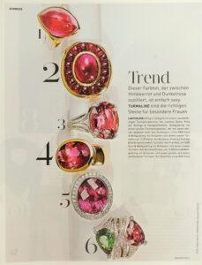Bernhard Grassl Juwelier München Presse Madame 09/2013 Weißgoldring mit Brillianten und einem ovalen Rubellith